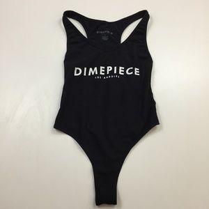 DIMEPIECE Los Angeles Logo Print Thong Bodysuit